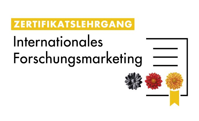 Logo des Zertifikatslehrgangs Internationales Forschungsmarketing der Kampagne Research in Germany